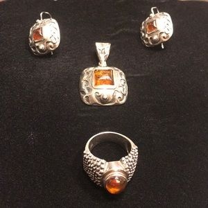 Silpada Silver Earrings, Ring and Pendant Set